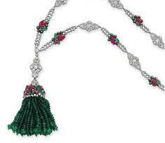 Close up: AN ART DECO DIAMOND, EMERALD AND RUBY SAUTOIR, BY BOUCHERON. Circa 1925. Christie's Magnificent Jewel: Dec 10, 2014.