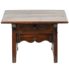 Small Spanish Colonial Table with Drawer, 19th Century | From a unique collection of antique and modern side tables at https://www.1stdibs.com/furniture/tables/side-tables/