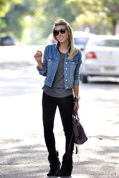 glam4you - nati vozza - look - skinny - black - jeans - jaqueta jeans - calça skinny preta - bota franja - fringe -