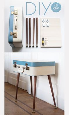 Make a STABLE suitcase table Tutorial.  AND 45 BEST Weekend Lifestyle DIY Tutorials EVER. DECOR, FURNITURE, JEWELRY, FOOD, WHIMSEY, PARTY from MrsPollyRogers.com