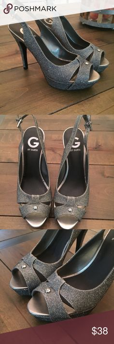 G By Guess Platform Heels These are so pretty, pictures don't do them justice! These shoes are elegant and sexy at the same time! Graphite sparkle platform peep toe stilettos, size 7.5M. These have never been worn, NWOT. G By Guess, women's Cathy platform pumps. No box. G by Guess Shoes Heels