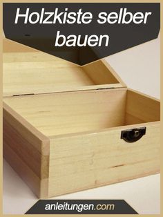 Holzkiste selber bauen – Obwohl die meisten Holzkisten sehr einfach aufgebaut si… Building a wooden box yourself – Although most wooden boxes are very simple, they cost a lot of money. You can save a lot if you build yourself using this guide. Woodworking For Kids, Woodworking Logo, Woodworking Workshop, Woodworking Crafts, Wooden Crate Furniture, Wooden Crates, Wooden Boxes, Diy Projects To Sell, Diy Wood Projects