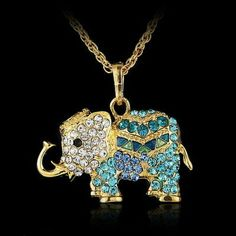 New Gold Elephant Necklace w/BLUE Crystals 3 avail Beautiful new longer gold elephant necklace with blue and white rhinestone crystals. Need luck or know someone who does? Get this for luck!  Not for children's use. Don't get hairspray,lotions,etc to touch because can cause color to dim or darken. 3 available. Just comment to me! Jewelry Necklaces