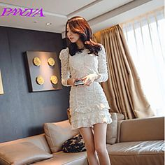 Women's Fashionable/Bodycon/Casual/Lace/Party/Work Micro-elastic Long Sleeve Knee-length Dress (Chiffon/Lace/Polyester)