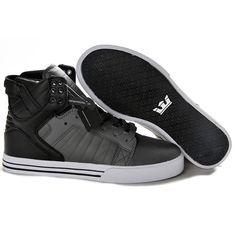 Supra High Sneakers Skytop Grey Black Full Grain Leather