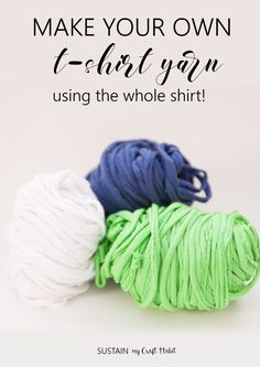 Repurposing old t-shirts for craft projects is a great way to keep them out of the landfill. There are so many possible uses for t-shirt yarn and in this post we show you how you can make your own yarn, using the entire shirt.
