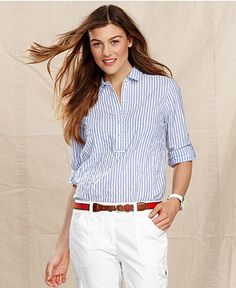 Tommy Hilfiger Shirt, Long-Sleeve Striped - Women - Macy's. Blue striped oxford. I like for layering.