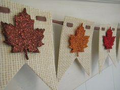 Fall Burlap Banner - Leaves - Thanksgiving Decor - Glitter Banner - Fall Decor on Etsy, $20.00