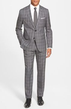 BOSS 'Jewels/Linus' Trim Fit Plaid Wool Suit available at #Nordstrom