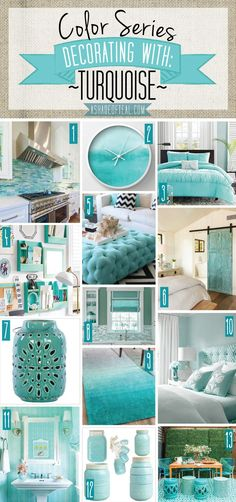 home decor blue Color Series; Decorating with Turquoise. Turquoise, teal, aqua, blue green home decor. Deco Turquoise, Bedroom Turquoise, Living Room Decor Turquoise, Green Turquoise, Aqua Decor, Turquoise Decorations, Turquoise Bedroom Decor, Turquoise Office, Blue Room Decor