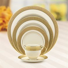 The Westchester Pattern: Lenox ivory fine china accented with 24 karat gold.