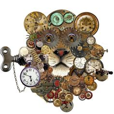 Lion clock of time by andrea kujawa
