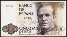 A 5000 peseta note with the image of King Juan Carlos I of Spain.