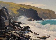 Rocky Beach, Shark Harbor by Brian Blood Oil ~ 12 x 16