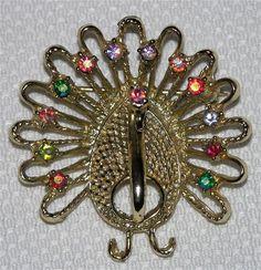Vintage Peacock Bird Figural Brooch