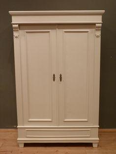 Antiker Kleiderschrank, Fichte Weiß Lasiert Um 1880