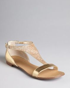 Boutique 9 T Strap Metallic Flat Sandals - Piraya Shoes - Bloomingdale's Cute Shoes Flats, Ella Shoes, Pretty Shoes, Me Too Shoes, Gold Sandals, Flat Sandals, Gold Flats, Metallic Sandals, Strappy Sandals