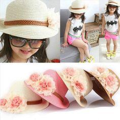6eb94e17f89 Children s Baby Girl Kids Sun Hat Summer Lovely Fashion Straw Hat Beach Cap  for 2-