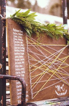 A lovely rustic yarn art wedding seating chart. More rustic seating plans at http://www.toptableplanner.com/blog/a-rustic-country-wedding-table-plan