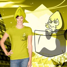 Yellow Pearl Pocket Tshirt by Slothgirlart based on the Homeworld Gem from the cartoon Steven Universe. Click on the pic to find links to where it on Redbubble, Society6, and more!