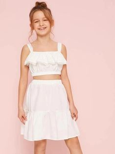 Girls Flounce Foldover Crop Top And Skirt Set – gagokid Kids Summer Dresses, Stylish Dresses For Girls, Dresses Kids Girl, Kids Outfits Girls, Cute Girl Outfits, Girls Fashion Clothes, Tween Fashion, Teen Fashion Outfits, Cute Casual Outfits