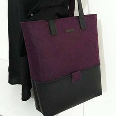 Handmade Burgundy, Felt Tote Bags, Black Color Leather Handle, Huge Leather Bottom Pockets, Felt Shopper, Shoulder Bag, Zipper Bag