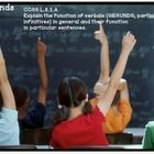 Introduce your students to gerunds and their functions with this instructional PowerPoint. This is part of our unit that we use to dig deeper into verbals.   This PowerPoint will walk your students through the world of gerunds.  We begin with basic gerund and then progress to gerund phrases and detail the functions of gerunds in sentences,  (subject, subject complements, direct objects, indirect objects, and objects of the preposition)   Included are 33 slides that incorporate guided and ...