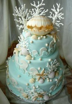 Sea blue wedding cake with oyster and pearl topper #wedding #cake #dessert #womentriangle