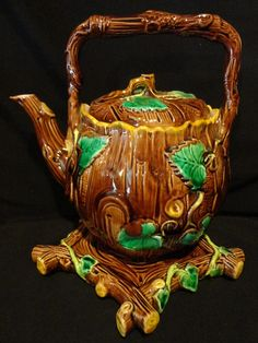 Victorian Majolica Tea Kettle with Trivet, Rustic Ivy on Bark, c. 1880's.