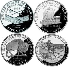 These are 5 pristine Jefferson nickel proof coins. public domain photo.