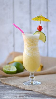 Frozen Banana Daiquiri - a refreshing taste of the tropics  cookingwithcurls.com