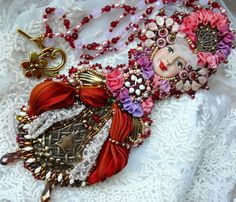 LARGE Bead embroidered Pendant necklace lace by MaewaDesign