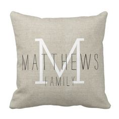 Rustic Linen Household Monogram Throw Pillow.  Find out even more by going to the picture
