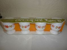 ARCOPAL VINTAGE EGG CUPS X4 BRAND NEW RARE UNOPENED PACK Pyrex...(Arcopal = Pyrex from France) UK location