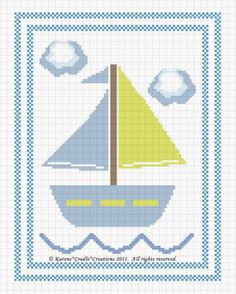 Sailboat Baby Nautical Counted Cross Stitch Pattern Chart Easy | eBay