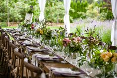 Floral Details and Lavender from @mlpowell #weddingtablescape // M. Magee Photography
