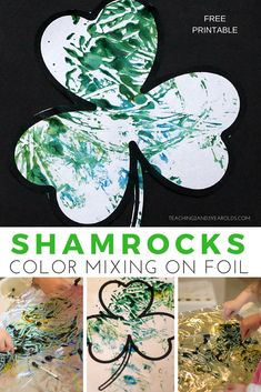 Add some extra fine motor to your toddler St. Patrick's Day art with these fun color-mixing shamrocks! Use cotton swabs to mix blue and yellow paint and then use the free shamrock printable to make a print of the colors. Hands-on fun! #stpatricksday #printable #shamrock #toddlers #toddlerart #colors #processart #paint #finemotor #AGE2 #AGE3