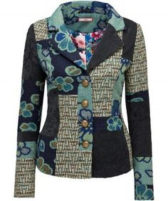 Mix it up with this textured and patterned jacket, fully lined with button cuff…