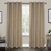"""Vesta Heavy Textured Linen Woven Room Darkening Grommet Top Window Curtain Panel Pair, Natural, 52"""" X 84"""""""