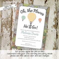 oh the places you will go invitation map baby shower hot air balloon birthday baptism graduation world travel (item 1243) around the world