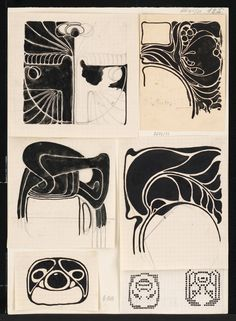 Koloman Moser, Decorative designs, 1890-1910. Vienna. Via MAK / europeana.