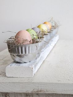 vintage Jello molds as nests