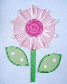 Embroidery Design for Machine Embroidery - Ribbon Flower Applique - Three Sizes 4x4, 5x7 and 6x10. $3.99, via Etsy.