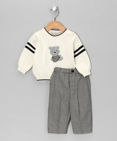 Take a look at this Cream Teddy Sweater & Gingham Pants - Infant by Warm & Cozy: Apparel & Accents on #zulily today!