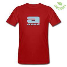 Männer Bio-T-Shirt - T-Shirt aus ökologischer Herstellung, für Männer, 100% Baumwolle, Marke: Continental.  Das rote Axel®Shirt mit hellblauem Label in Organic-Baumwolle. Einfach Axel®.