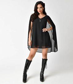 Bewitching isnt bad, darlings. This sultry all black pullover flare dress is short and to the point! Cast in a lightweight lined chiffon, this sleeveless shift silhouette boasts a subtle v-neck and sheer cape back for a wondrously witchy touch. Don this
