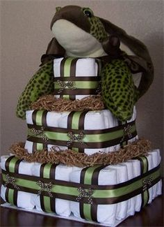 square frog diaper cake: I'm not that into diaper cakes, but thought this one was worth sharing. It's different and square, I think that's what caught my eye. I found it at Diaper