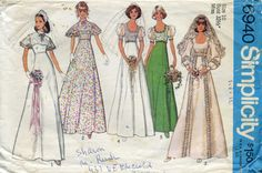 Simplicity 6940 1970's Wedding Dress or Prom by PattysPastTimes, $8.50