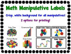 math manipulative labels... two cute and kid friendly designs for basically all manipulatives! $2 at TPT