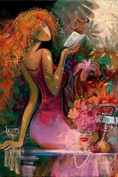 artist irene sheri art painting entitled spring awakening at Pierside Gallery Art And Illustration, Illustrations, Most Beautiful Paintings, Reading Art, Arte Pop, Fine Art, Oeuvre D'art, Female Art, Painting & Drawing